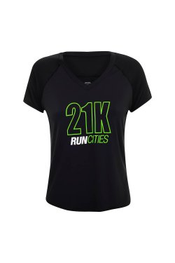 Camiseta Run Cities 21K Fem Preto