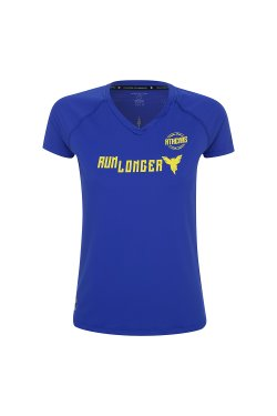 Camiseta Athenas Run Longer Azul e Amarela Fem