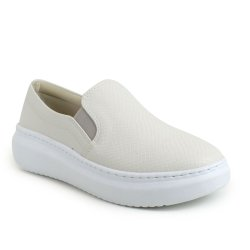 Tenis Emporionaka Slip On Snake Off White