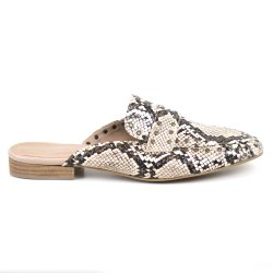 Mule Flats&Co Snake Metal Off White