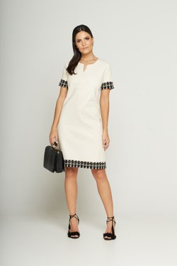 VESTIDO VICKY OFF WHITE TWEED P&B