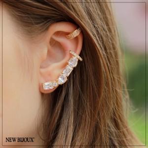 ... Imagem do produto Brinco Ear Cuff Cristais Geométricos Folheado a Ouro  18k c9bef6a981
