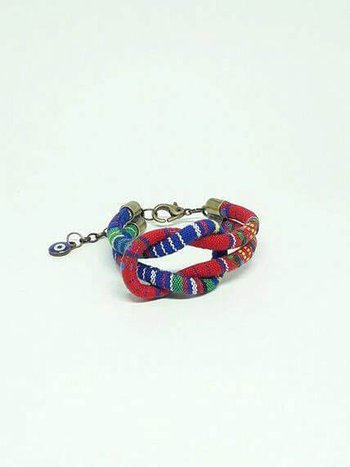 Bracelete Ethnic Knot Multi Red