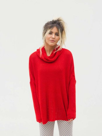 Maxi Pullover Gola Red