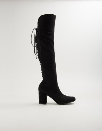 BOTA OVER THE KNEE SUEDE PRETO