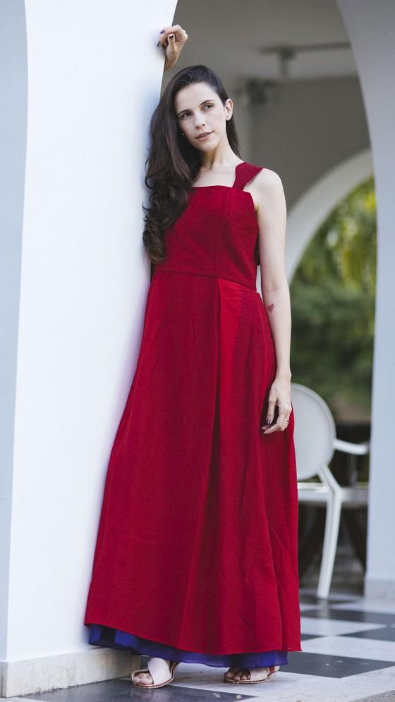 081aa255f9 Vestido Longo Festa - Vermelho Roxo - Refazenda