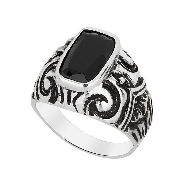 Anel - Baroque 100% Prata & Ônix | Ring – Baroque 100% Silver and Ônix