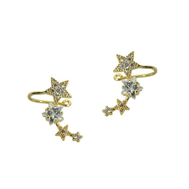 4ecbfdf54b387 Brinco Ear Cuff Estrelas Folheado a Ouro 18k com Cristal Navete e Zircônias