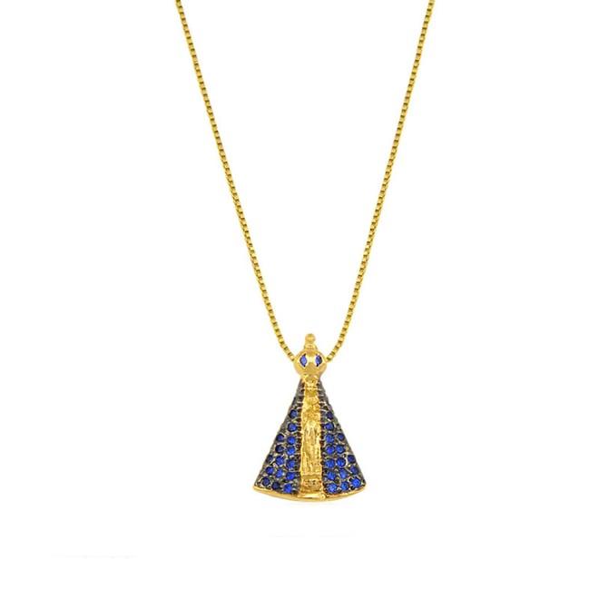056e7a79ec9fb Colar Nossa Senhora Aparecida Folheado a Ouro 18k - New Bijoux