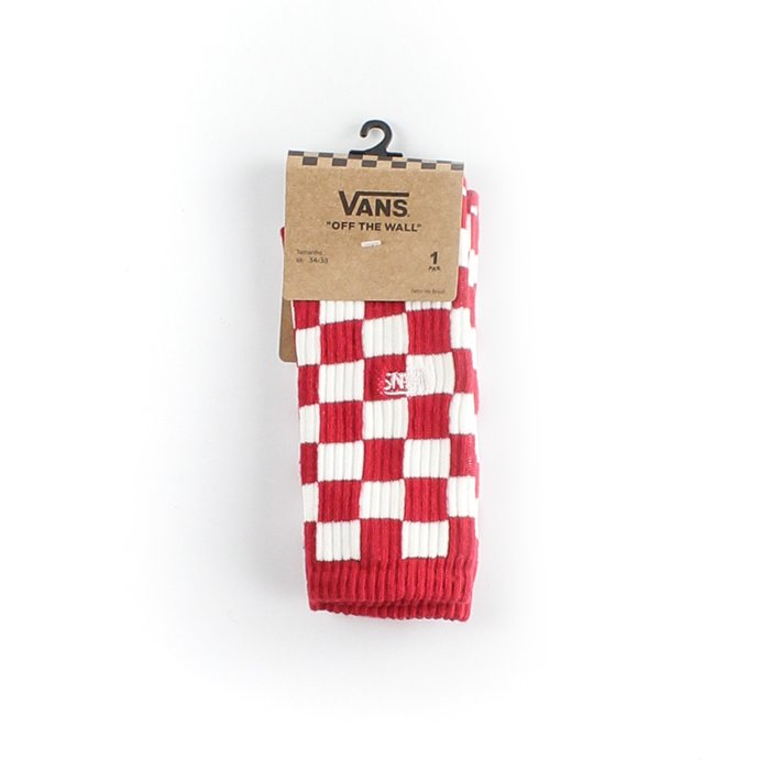 MEIA VANS CHECKERBOARD CREW RED WHITE