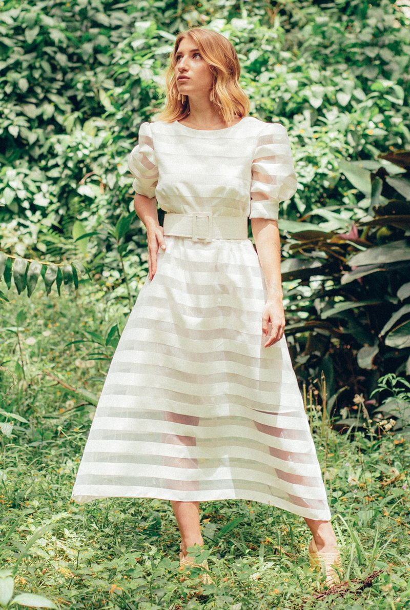 Vestido Midi White Stripes