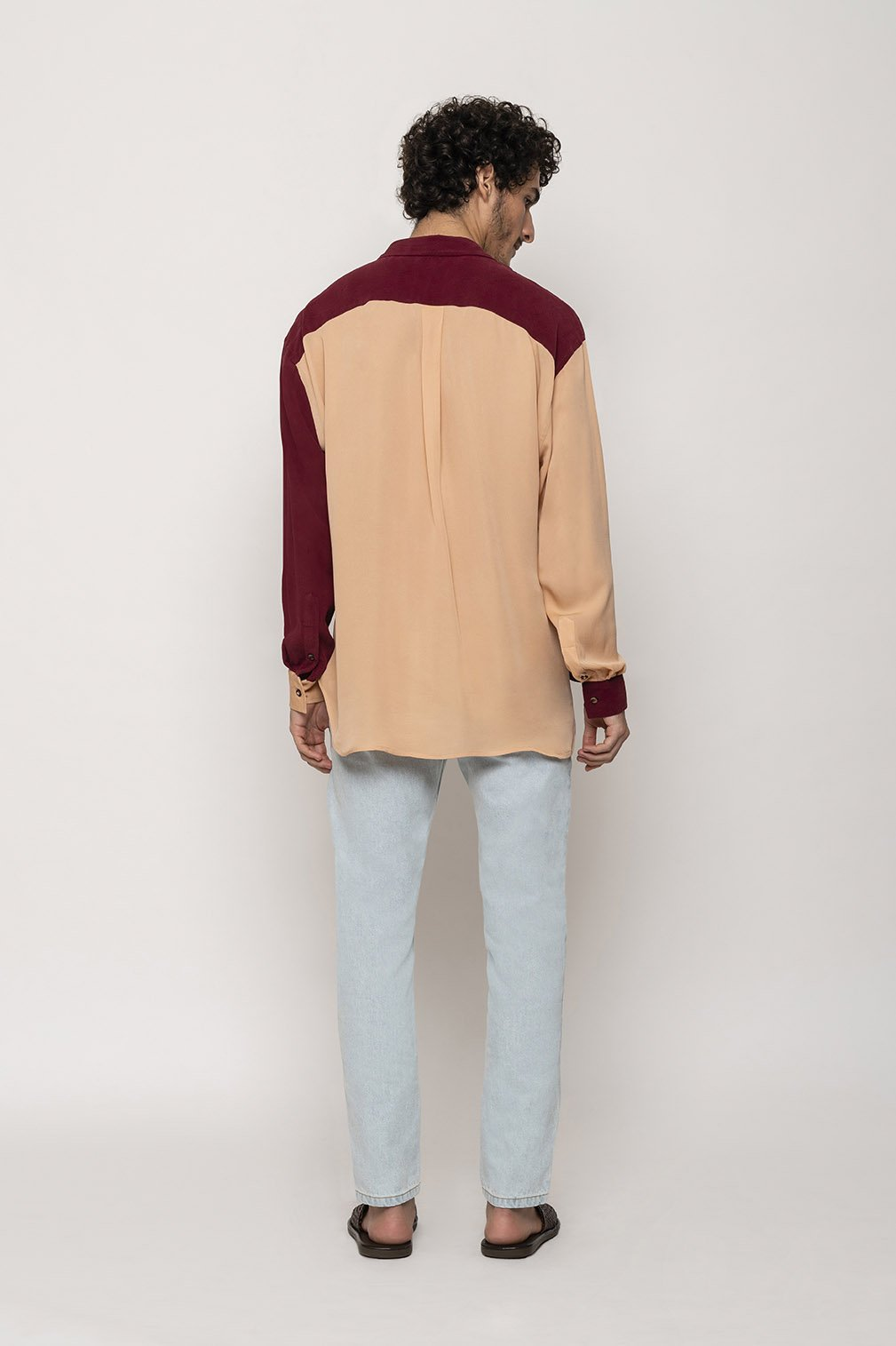 Camisa Oversized Bicolor Coral / Bordeaux