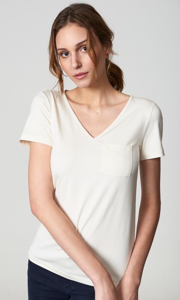 T-Shirt Gola V Com Bolso - Off-White