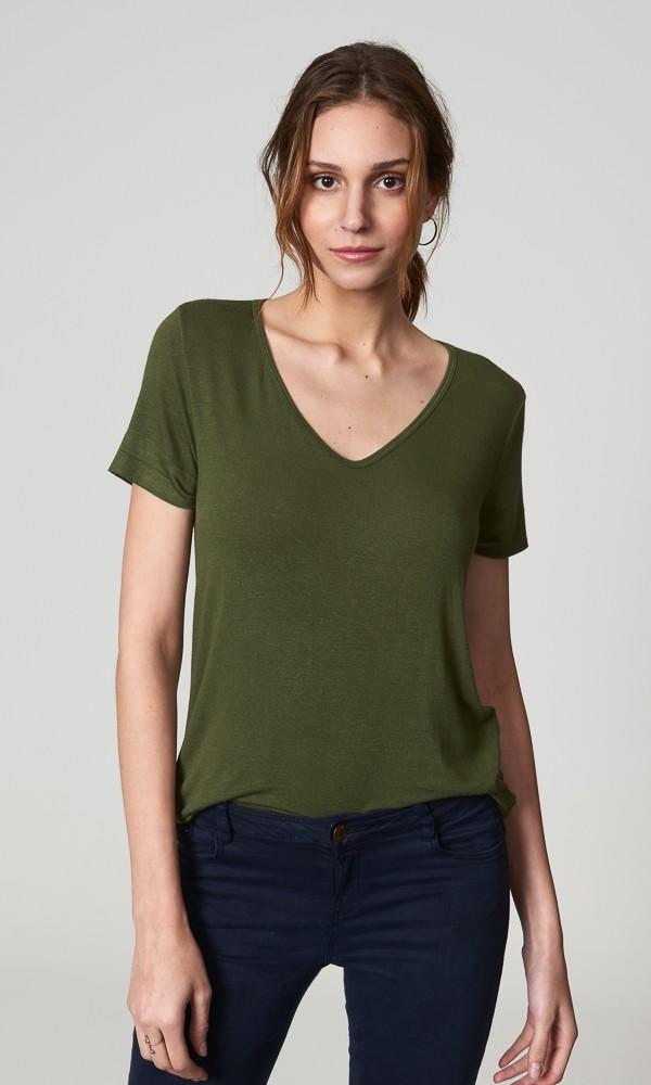 T-Shirt Gola V Linho - Oliva