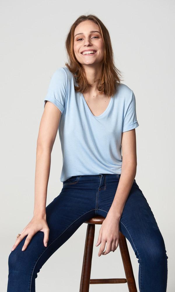 T-Shirt Linho - Azul Pastel