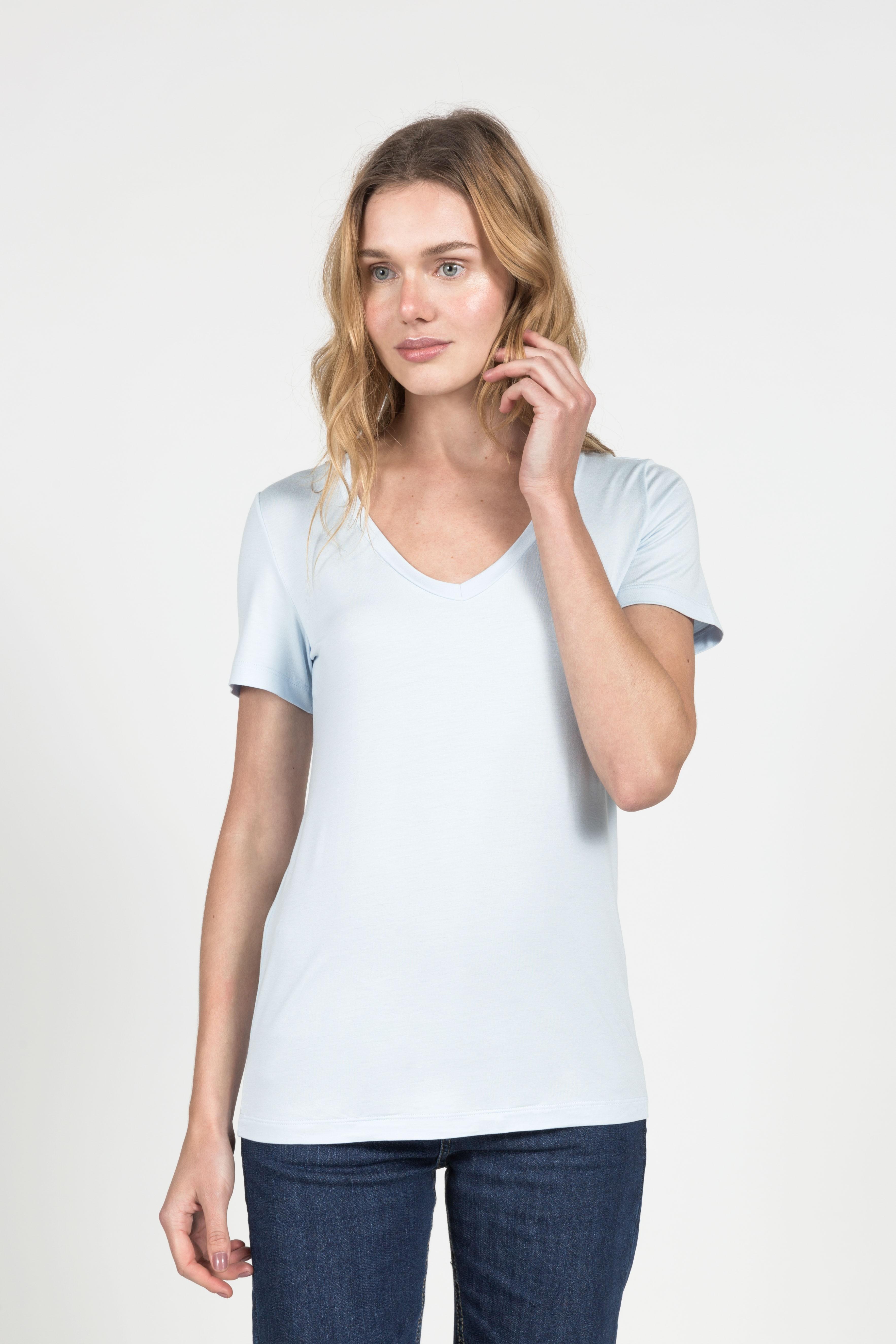 T-Shirt Gola V Modal - Azul Pastel
