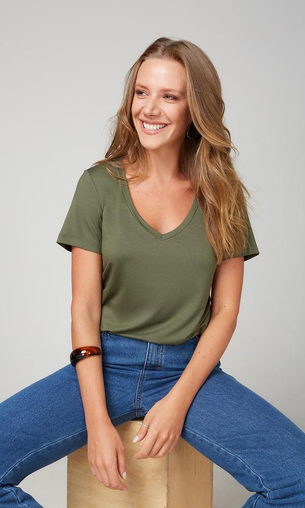 T-Shirt Gola V Modal - Novo Oliva