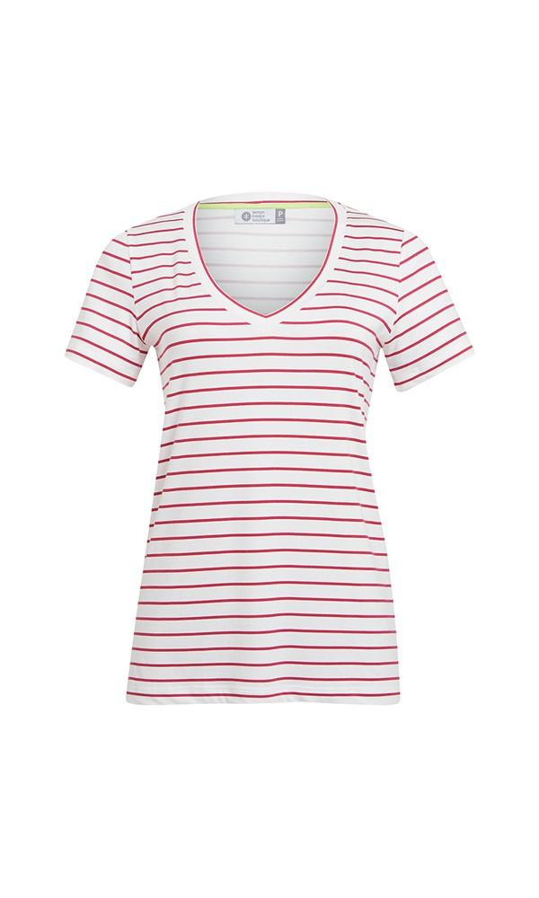 T-Shirt Gola V Modal - Off White Com Listras Pink Lemon