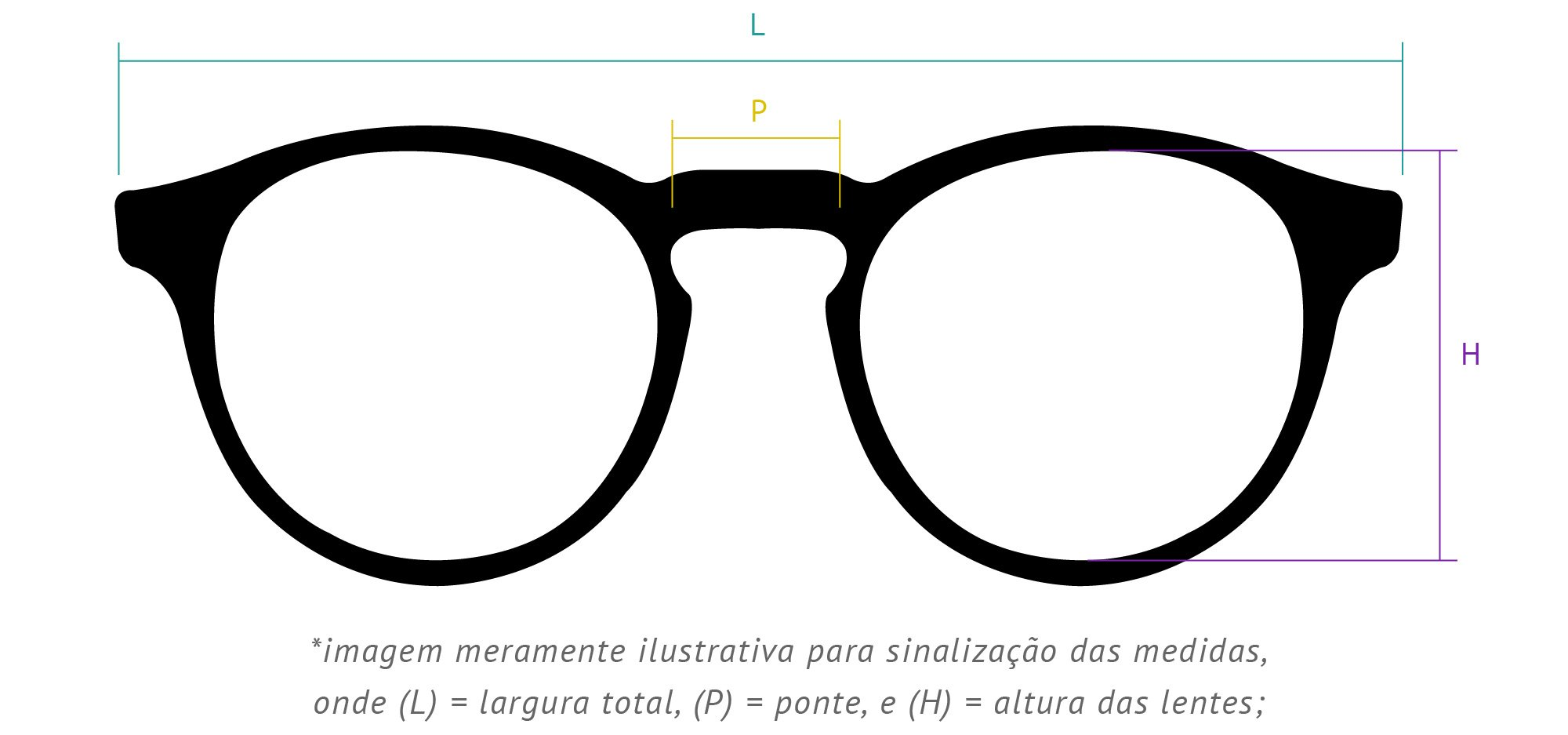 bc0f80d29e8ee Medidas da armação do óculos redondo